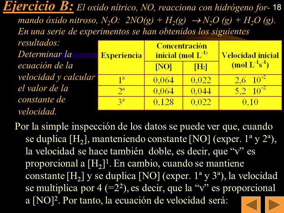 17 a) b) Ejercicio A: En la obtención del ácido nítrico, una de las etapas principales es la oxidación del óxido nítrico a dióxido de nitrógeno: 2 NO(