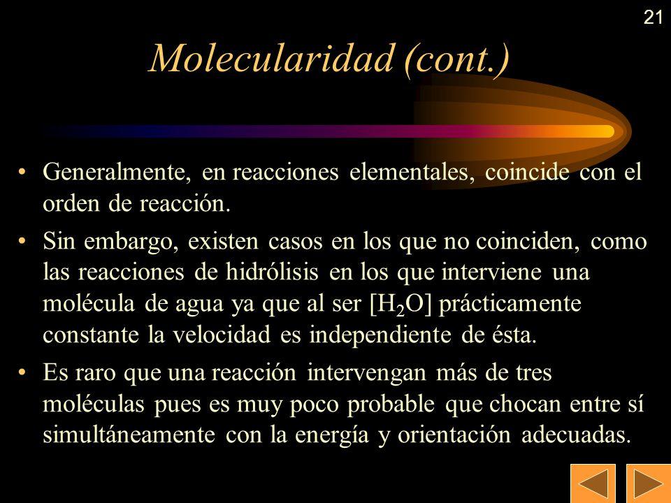 20 Molecularidad La reacción: H 2 (g) + I 2 (g) 2 HI (g) es una reacción elemental (que sucede en una sola etapa) y para que suceda es necesario el ch