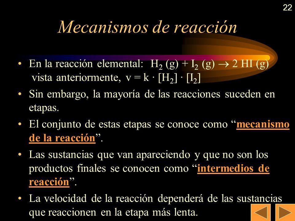 21 Molecularidad (cont.) Generalmente, en reacciones elementales, coincide con el orden de reacción. Sin embargo, existen casos en los que no coincide