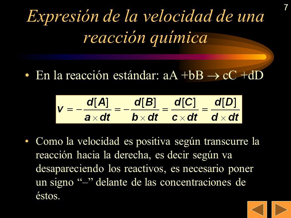 6 Br 2 (ac) + HCOOH (ac) 2 HBr (ac) + CO 2 (g) La velocidad puede expresarse como: d[Br 2 ] d[HCOOH ] d[CO 2 ] d[HBr] v = – = – = = dt dt dt 2 · dt Pa