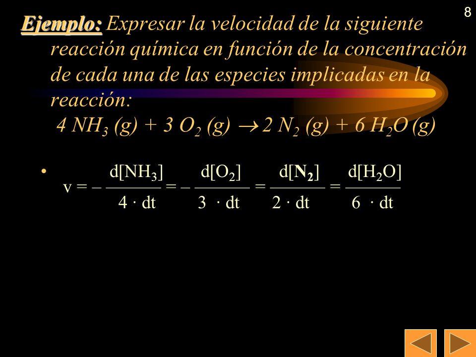 7 Expresión de la velocidad de una reacción química En la reacción estándar: aA +bB cC +dD Como la velocidad es positiva según transcurre la reacción