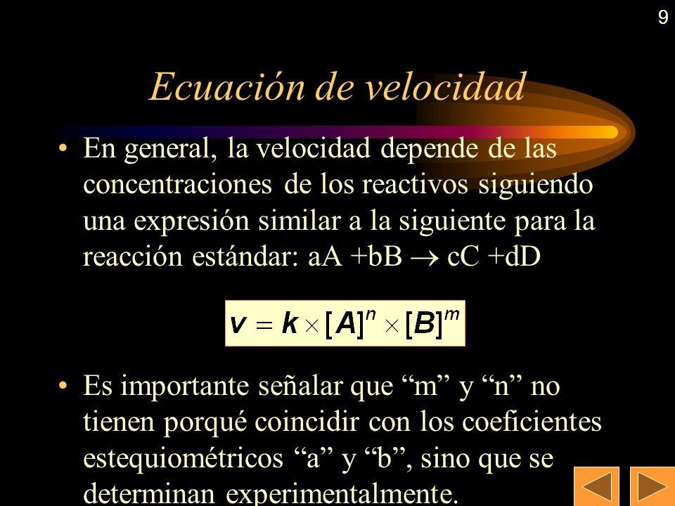 8 Ejemplo: Ejemplo: Expresar la velocidad de la siguiente reacción química en función de la concentración de cada una de las especies implicadas en la