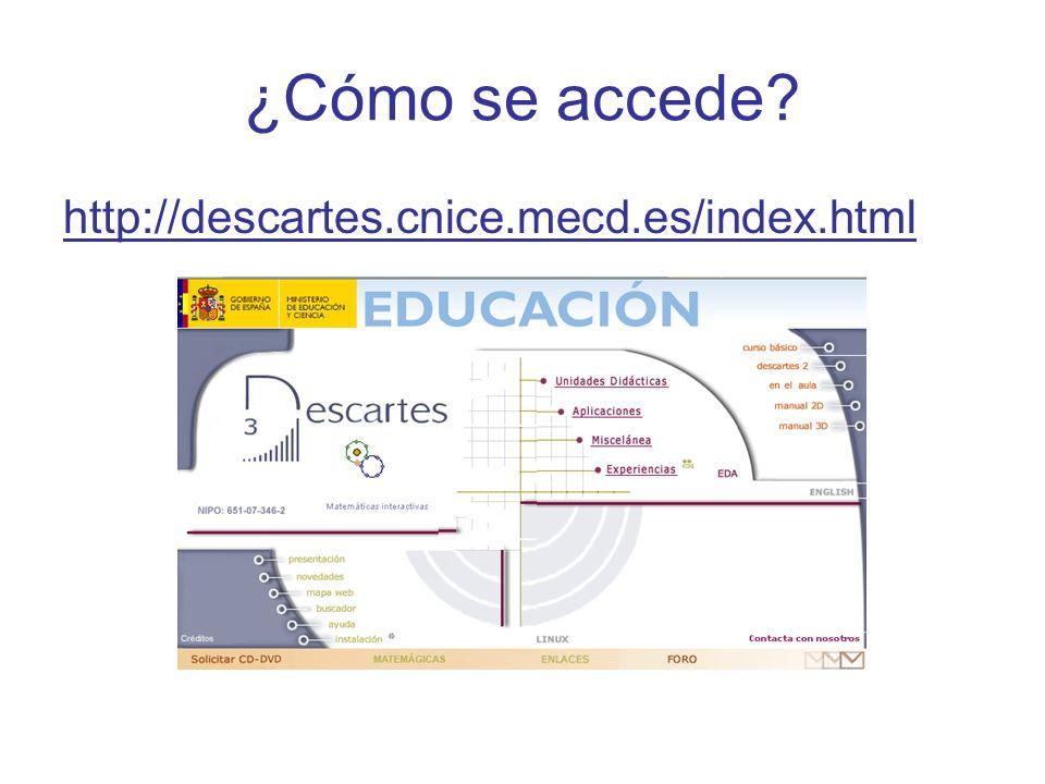 ¿Cómo se accede? http://descartes.cnice.mecd.es/index.html