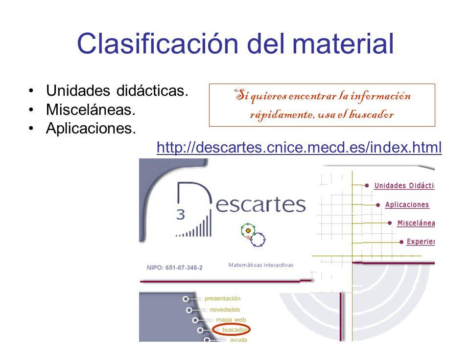 Clasificación del material Unidades didácticas. Misceláneas.