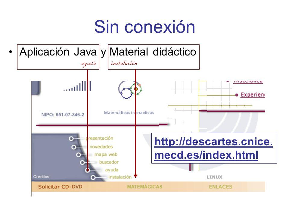 Sin conexión Aplicación Java y Material didáctico http://descartes.cnice.
