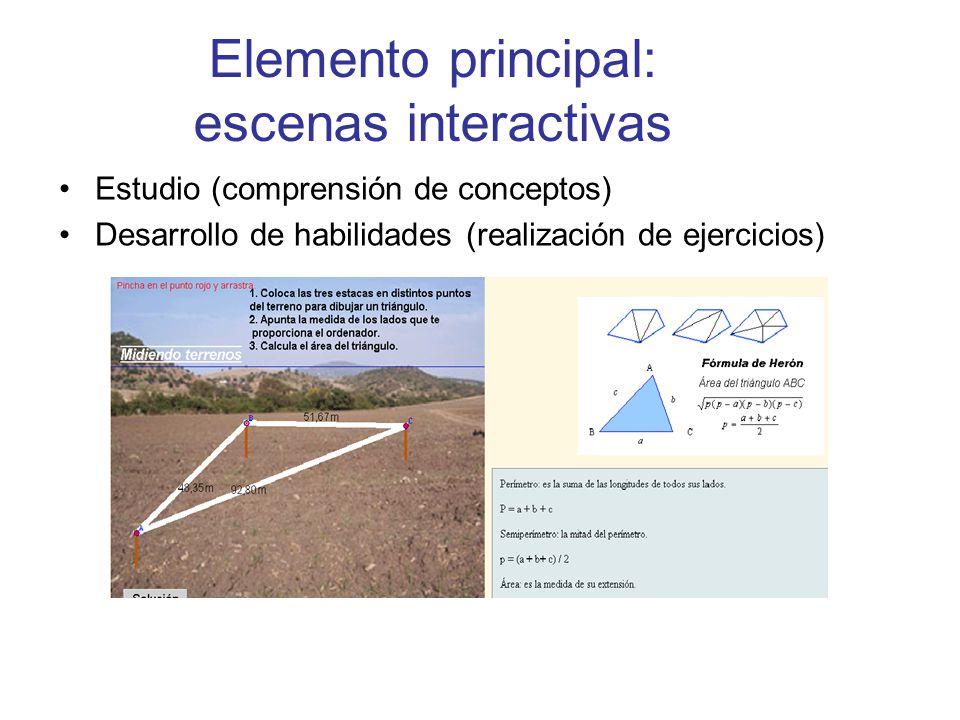 Elemento principal: escenas interactivas Estudio (comprensión de conceptos) Desarrollo de habilidades (realización de ejercicios)