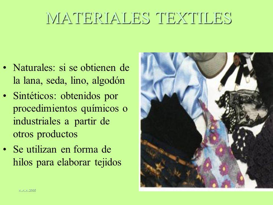MATERIALES TEXTILES Naturales: si se obtienen de la lana, seda, lino, algodón Sintéticos: obtenidos por procedimientos químicos o industriales a parti