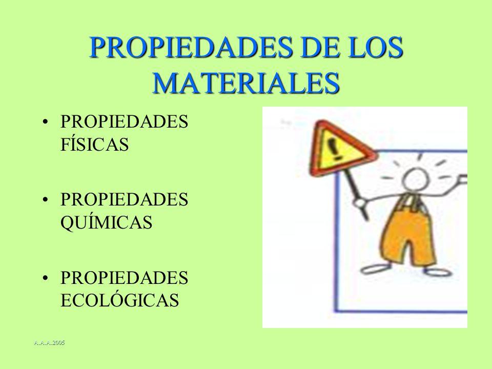 PROPIEDADES DE LOS MATERIALES PROPIEDADES FÍSICAS PROPIEDADES QUÍMICAS PROPIEDADES ECOLÓGICAS A.A.A.2005