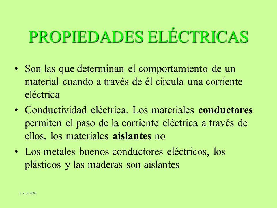 PROPIEDADES ELÉCTRICAS Son las que determinan el comportamiento de un material cuando a través de él circula una corriente eléctrica Conductividad elé