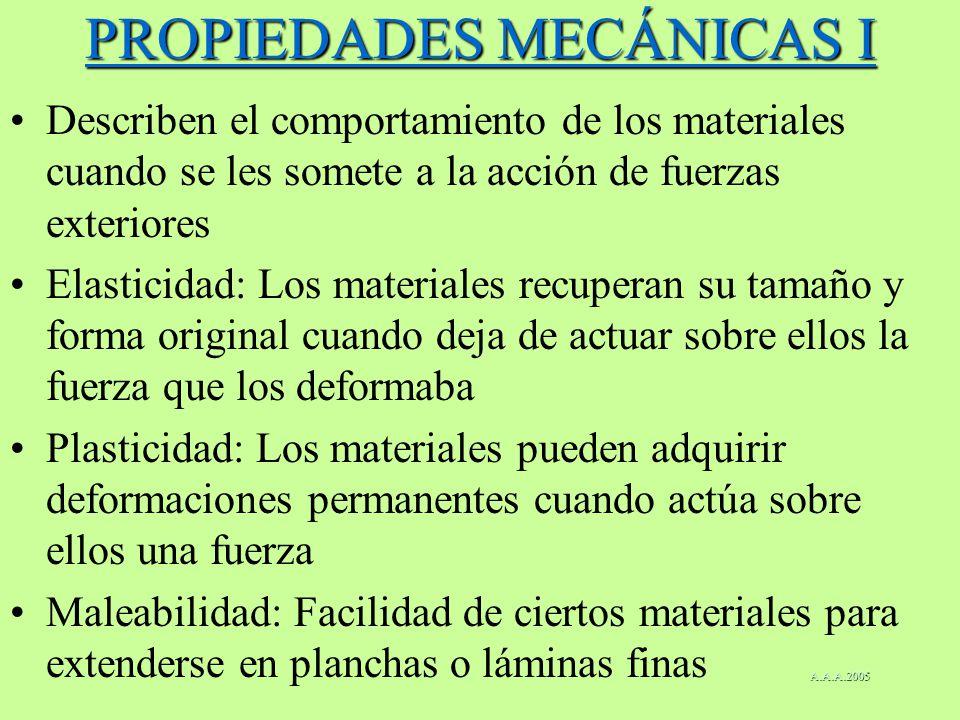 PROPIEDADES MECÁNICAS I Describen el comportamiento de los materiales cuando se les somete a la acción de fuerzas exteriores Elasticidad: Los material