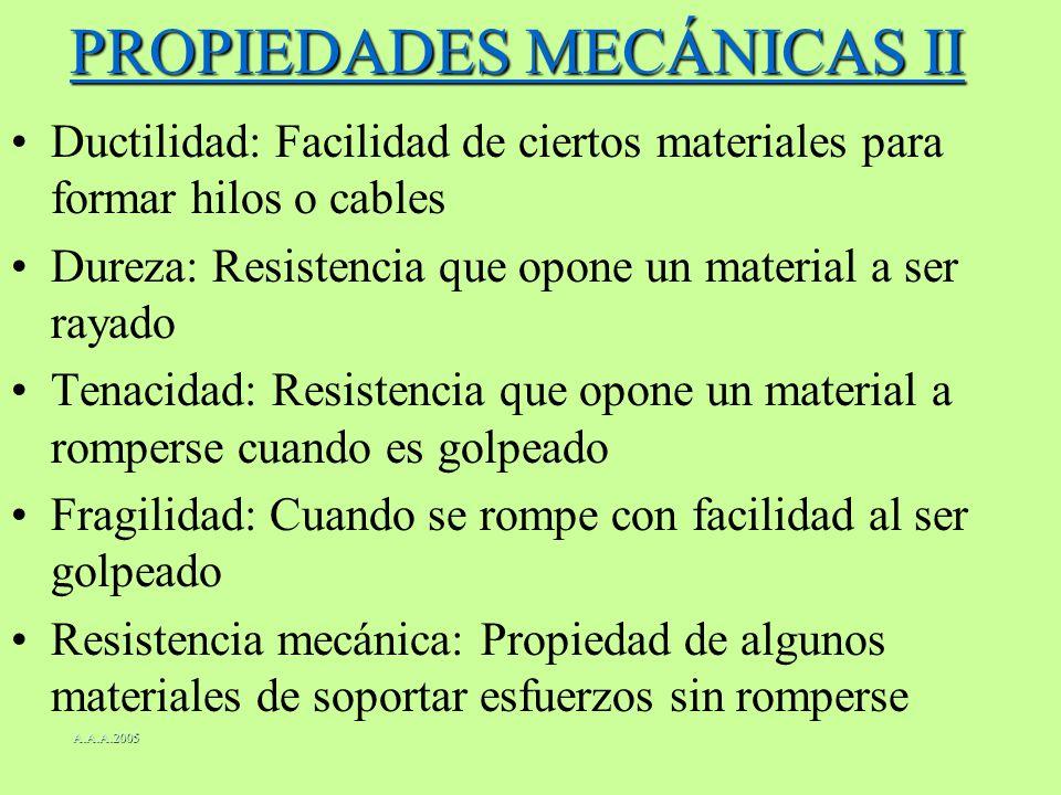 PROPIEDADES MECÁNICAS II Ductilidad: Facilidad de ciertos materiales para formar hilos o cables Dureza: Resistencia que opone un material a ser rayado