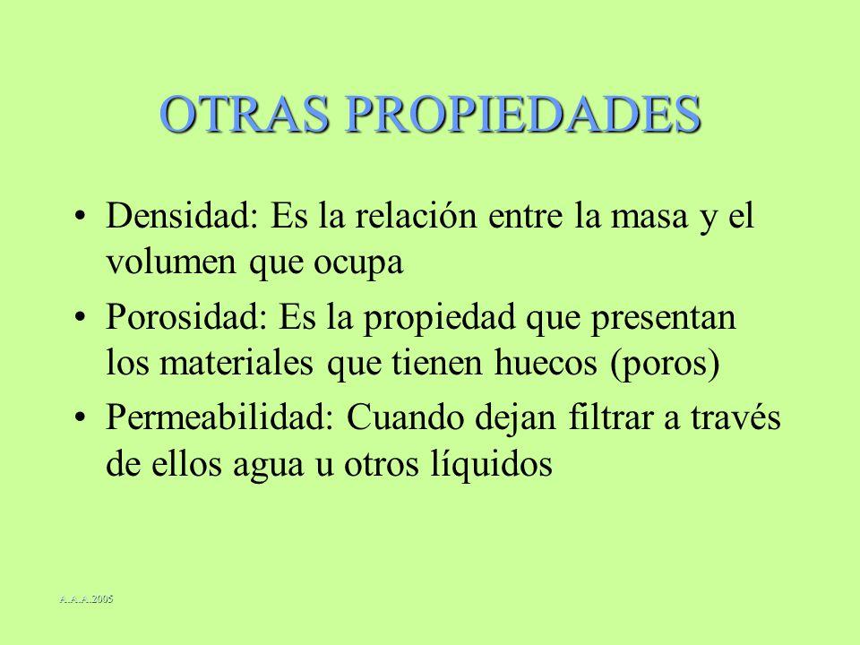 OTRAS PROPIEDADES Densidad: Es la relación entre la masa y el volumen que ocupa Porosidad: Es la propiedad que presentan los materiales que tienen hue