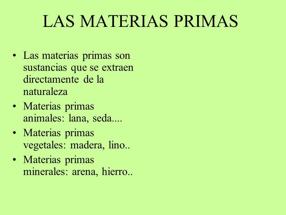 LAS MATERIAS PRIMAS Las materias primas son sustancias que se extraen directamente de la naturaleza Materias primas animales: lana, seda.... Materias