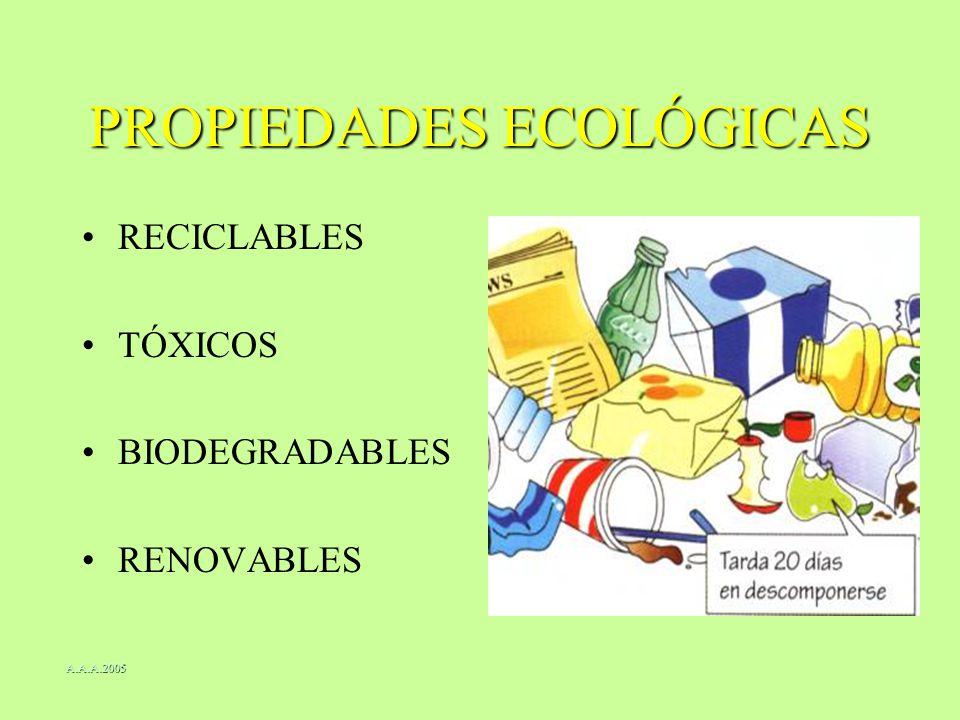 PROPIEDADES ECOLÓGICAS RECICLABLES TÓXICOS BIODEGRADABLES RENOVABLES A.A.A.2005