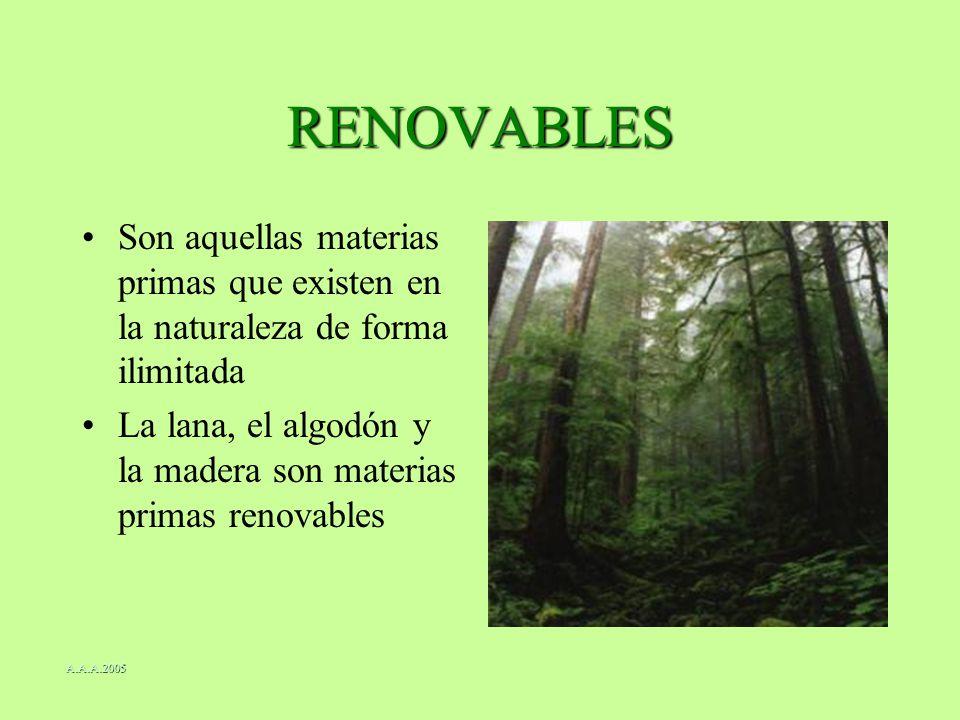 RENOVABLES Son aquellas materias primas que existen en la naturaleza de forma ilimitada La lana, el algodón y la madera son materias primas renovables