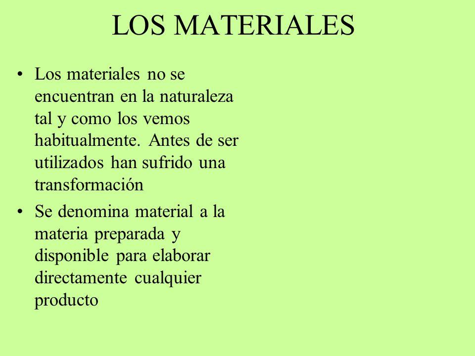 LOS MATERIALES Los materiales no se encuentran en la naturaleza tal y como los vemos habitualmente. Antes de ser utilizados han sufrido una transforma