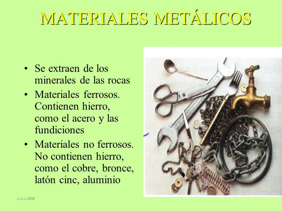 MATERIALES METÁLICOS Se extraen de los minerales de las rocas Materiales ferrosos. Contienen hierro, como el acero y las fundiciones Materiales no fer