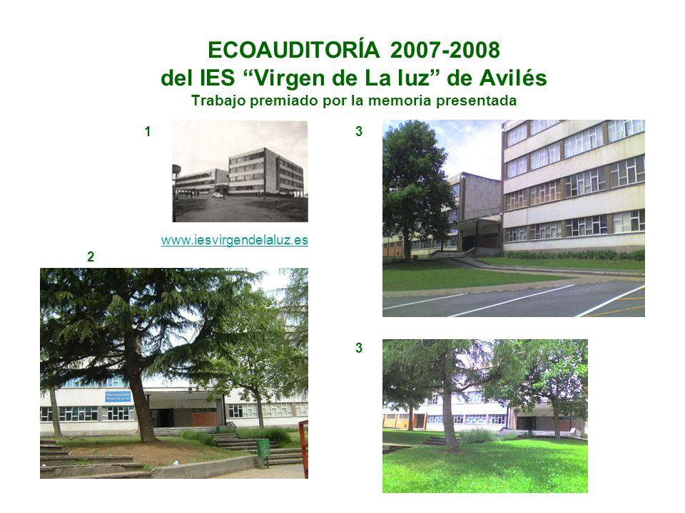 ECOAUDITORÍA 2007-2008 del IES Virgen de La luz de Avilés Trabajo premiado por la memoria presentada www.iesvirgendelaluz.es 1 2 3 3