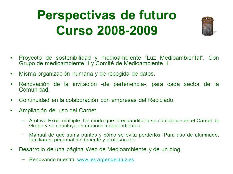 Perspectivas de futuro Curso 2008-2009 Proyecto de sostenibilidad y medioambiente Luz Medioambiental. Con Grupo de medioambiente II y Comité de Medioa
