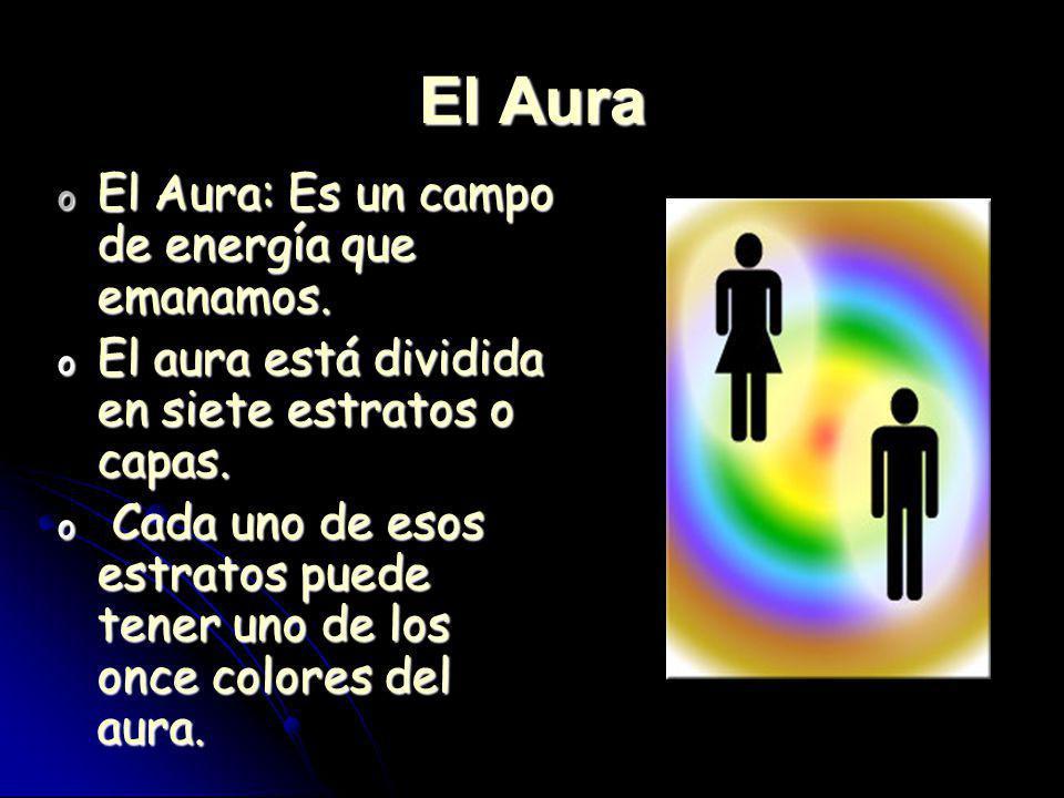 El Aura o El Aura: Es un campo de energía que emanamos. o El aura está dividida en siete estratos o capas. o Cada uno de esos estratos puede tener uno