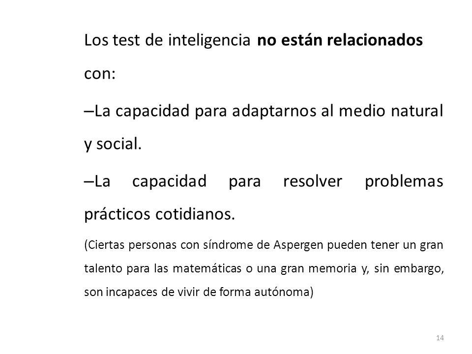 Los test de inteligencia no están relacionados con: – La capacidad para adaptarnos al medio natural y social. – La capacidad para resolver problemas p