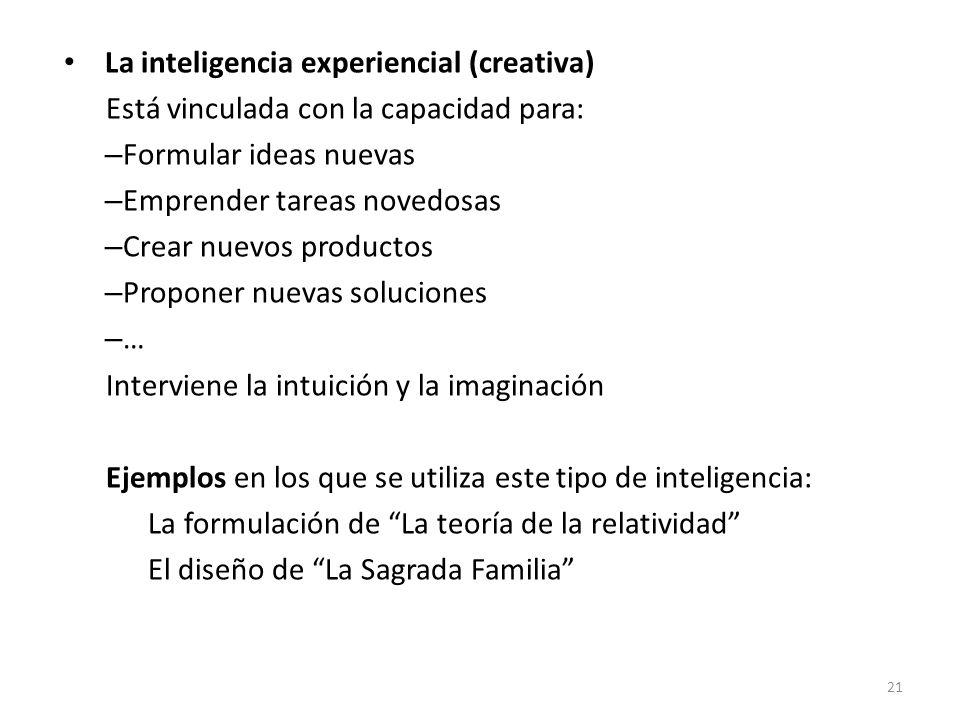 La inteligencia experiencial (creativa) Está vinculada con la capacidad para: – Formular ideas nuevas – Emprender tareas novedosas – Crear nuevos prod
