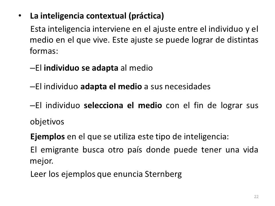 La inteligencia contextual (práctica) Esta inteligencia interviene en el ajuste entre el individuo y el medio en el que vive. Este ajuste se puede log