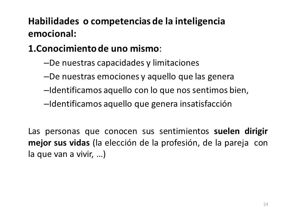 Habilidades o competencias de la inteligencia emocional: 1.Conocimiento de uno mismo: – De nuestras capacidades y limitaciones – De nuestras emociones