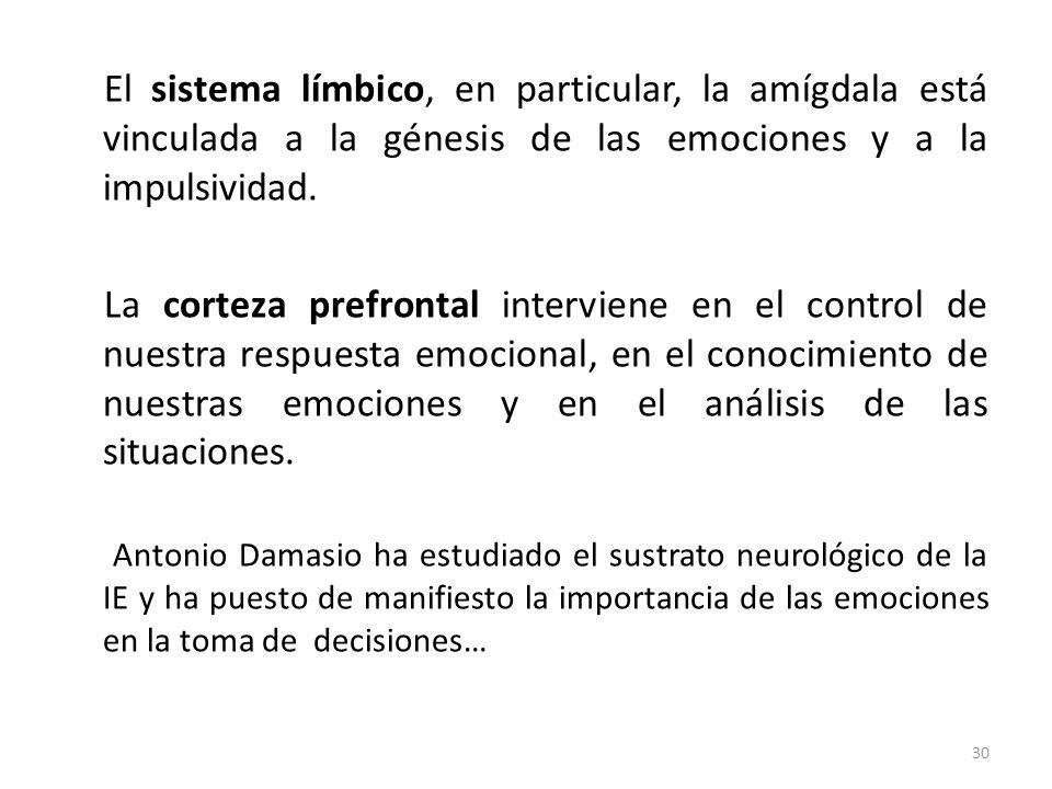 El sistema límbico, en particular, la amígdala está vinculada a la génesis de las emociones y a la impulsividad. La corteza prefrontal interviene en e