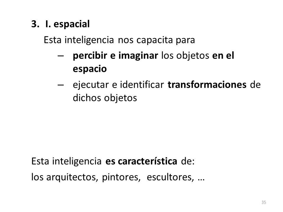 3.I. espacial Esta inteligencia nos capacita para – percibir e imaginar los objetos en el espacio – ejecutar e identificar transformaciones de dichos