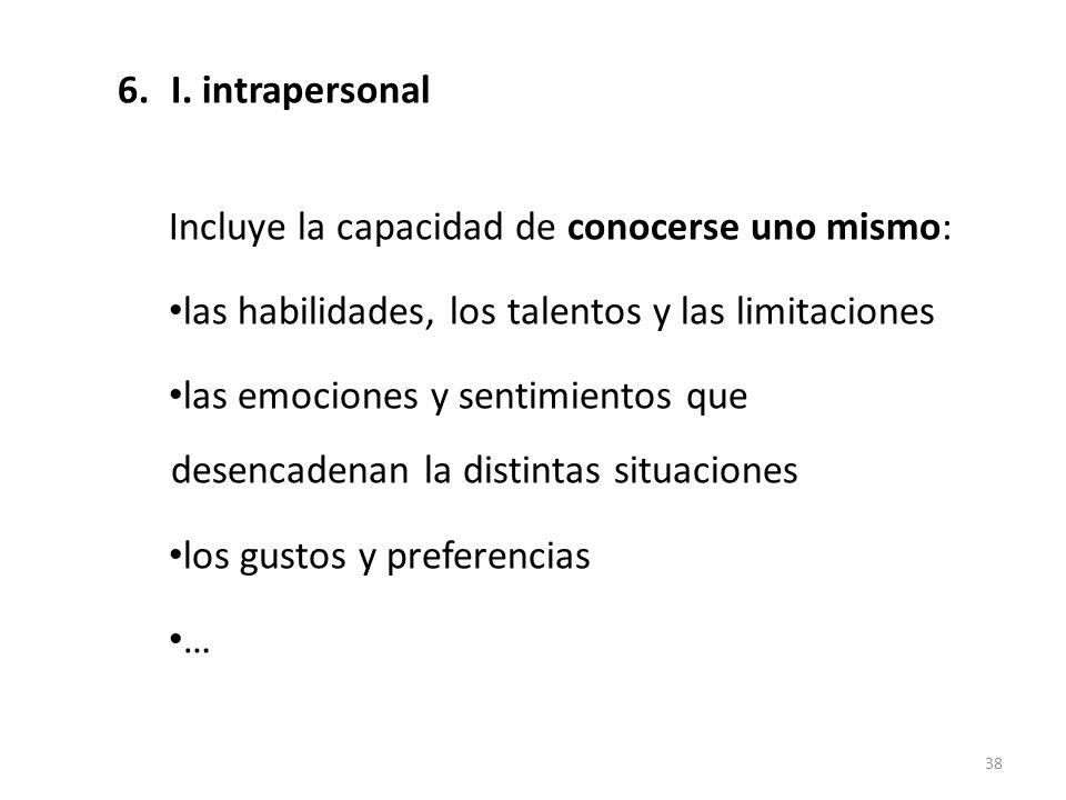 6.I. intrapersonal Incluye la capacidad de conocerse uno mismo: las habilidades, los talentos y las limitaciones las emociones y sentimientos que dese