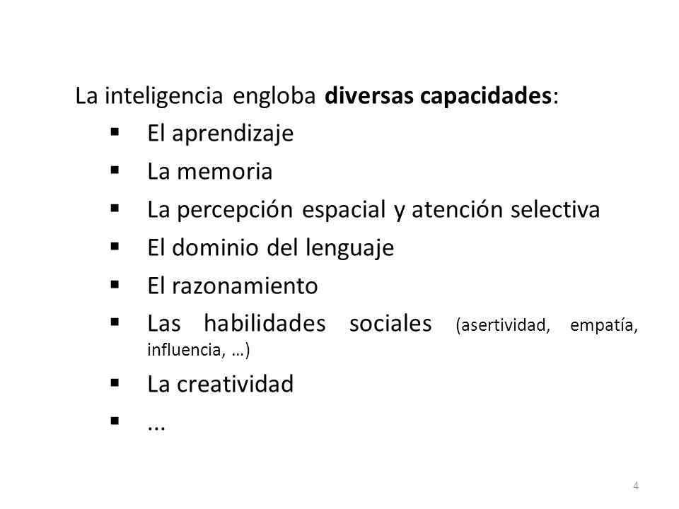 La inteligencia engloba diversas capacidades: El aprendizaje La memoria La percepción espacial y atención selectiva El dominio del lenguaje El razonam