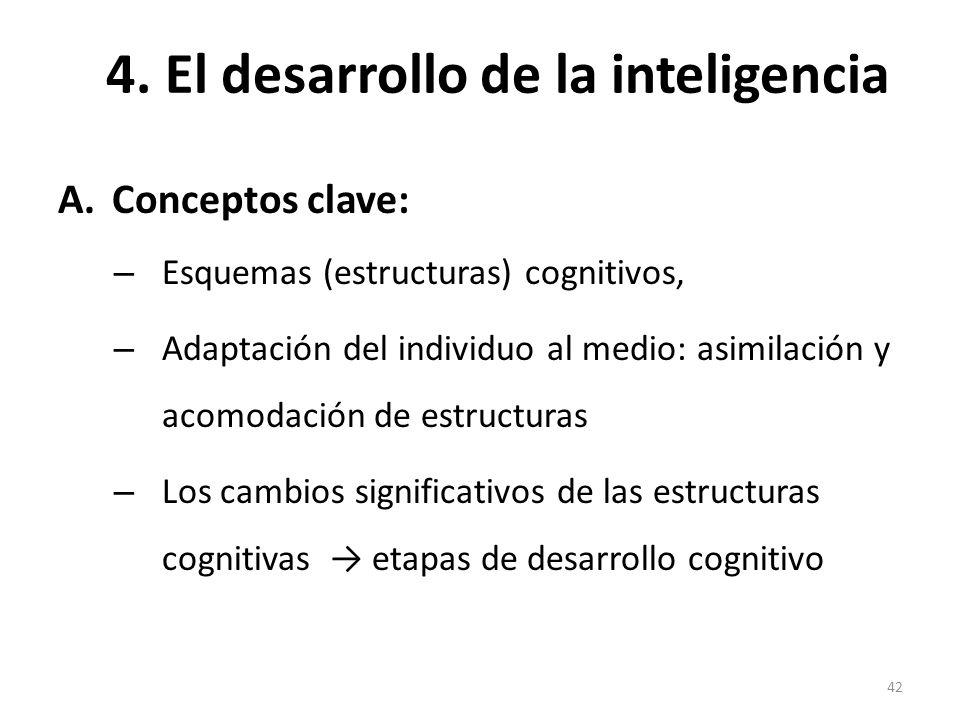 4. El desarrollo de la inteligencia A.Conceptos clave: – Esquemas (estructuras) cognitivos, – Adaptación del individuo al medio: asimilación y acomoda