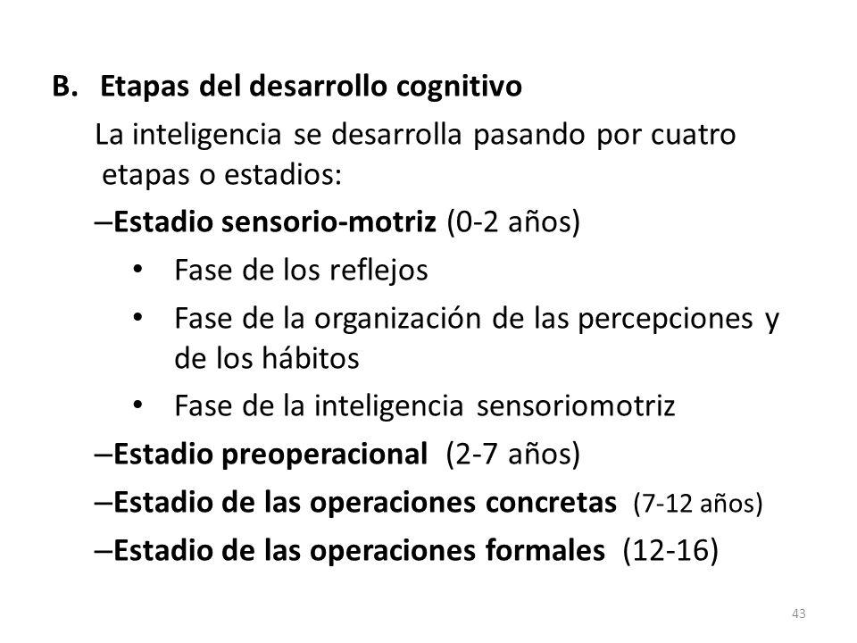 B.Etapas del desarrollo cognitivo La inteligencia se desarrolla pasando por cuatro etapas o estadios: – Estadio sensorio-motriz (0-2 años) Fase de los