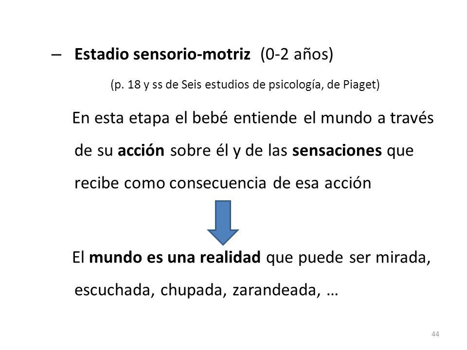 – Estadio sensorio-motriz (0-2 años) (p. 18 y ss de Seis estudios de psicología, de Piaget) En esta etapa el bebé entiende el mundo a través de su acc