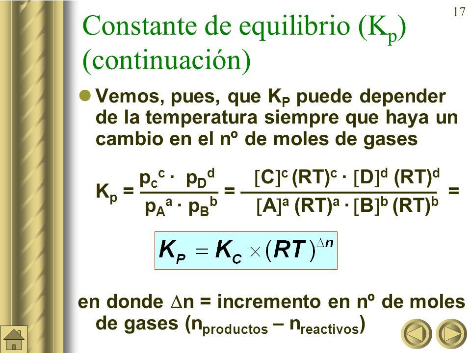 16 Constante de equilibrio (K p ) En la reacción vista anteriormente: 2 SO 2 (g) + O 2 (g) 2 SO 3 (g) p(SO 3 ) 2 K p = p(SO 2 ) 2 · p(O 2 ) De la ecuación general de los gases: p ·V = n ·R·T se obtiene: n p = ·R ·T = concentración · R · T V SO 3 2 (RT) 2 K p = = K c · (RT) –1 SO 2 2 (RT) 2 · O 2 (RT)
