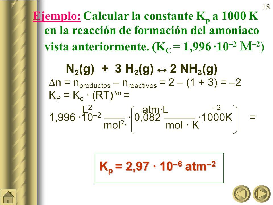 17 Constante de equilibrio (K p ) (continuación) Vemos, pues, que K P puede depender de la temperatura siempre que haya un cambio en el nº de moles de gases p c c · p D d C c (RT) c · D d (RT) d K p = = = p A a · p B b A a (RT) a · B b (RT) b en donde n = incremento en nº de moles de gases (n productos – n reactivos )
