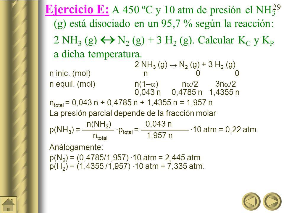 28 Ejercicio D (cont.): En el equilibrio anterior (K c = 0,042): PCl 5 (g) PCl 3 (g) + Cl 2 (g) ¿cuál sería el grado de disociación y el número de moles en el equilibrio de las tres sustancias si pusiéramos únicamente2 moles de PCl 5 (g) en los 5 litros del matraz.