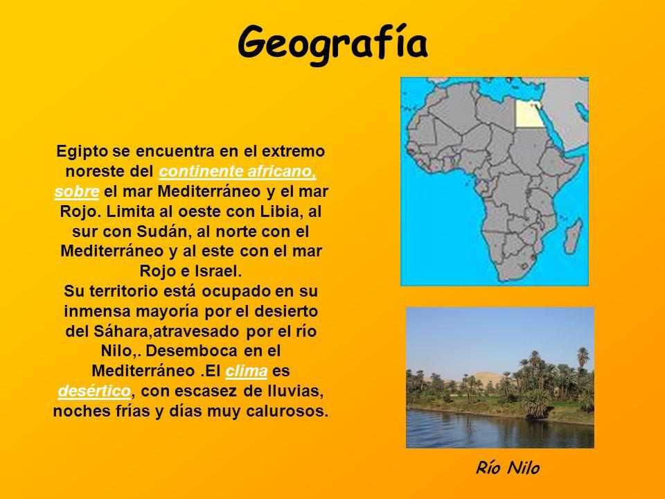 Geografía Egipto se encuentra en el extremo noreste del continente africano, sobre el mar Mediterráneo y el mar Rojo. Limita al oeste con Libia, al su
