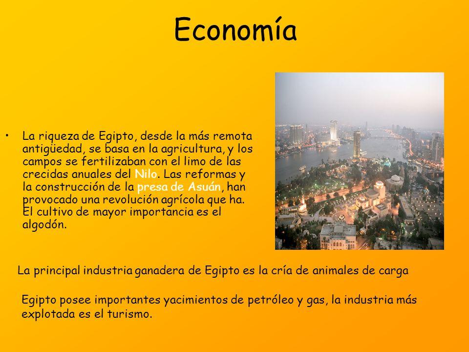 Economía La riqueza de Egipto, desde la más remota antigüedad, se basa en la agricultura, y los campos se fertilizaban con el limo de las crecidas anu