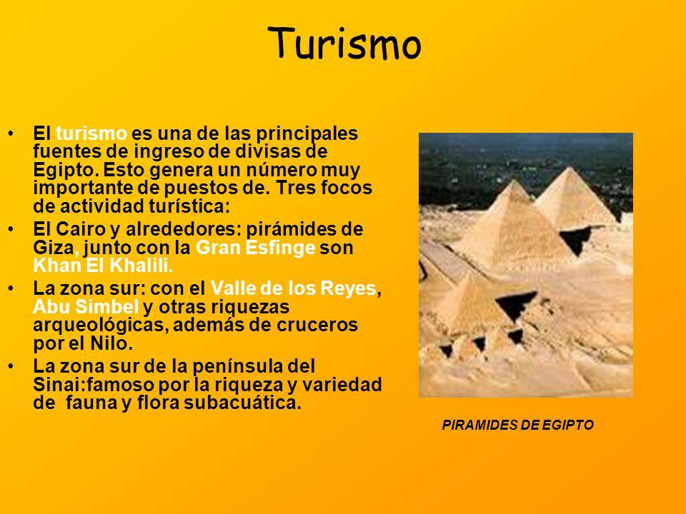 Turismo El turismo es una de las principales fuentes de ingreso de divisas de Egipto. Esto genera un número muy importante de puestos de. Tres focos d