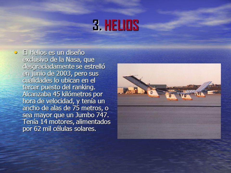 3. HELIOS El Helios es un diseño exclusivo de la Nasa, que desgraciadamente se estrelló en junio de 2003, pero sus cualidades lo ubican en el tercer p