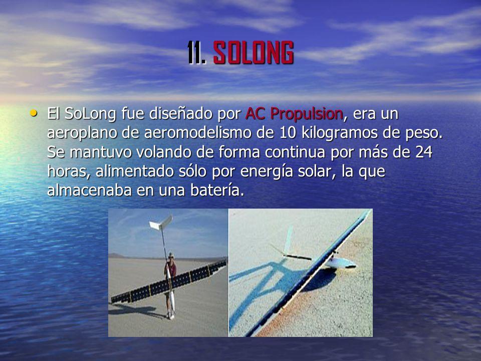 11. SOLONG El SoLong fue diseñado por AC Propulsion, era un aeroplano de aeromodelismo de 10 kilogramos de peso. Se mantuvo volando de forma continua