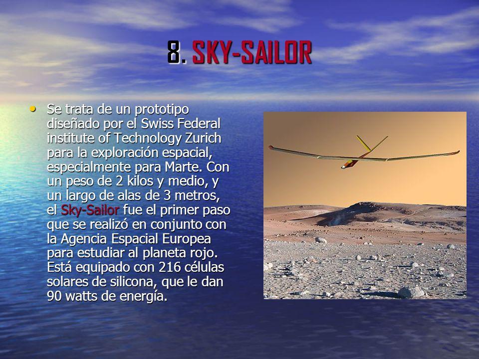8. SKY-SAILOR Se trata de un prototipo diseñado por el Swiss Federal institute of Technology Zurich para la exploración espacial, especialmente para M