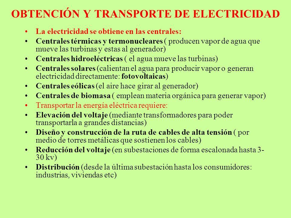 OBTENCIÓN Y TRANSPORTE DE ELECTRICIDAD La electricidad se obtiene en las centrales: Centrales térmicas y termonucleares ( producen vapor de agua que m