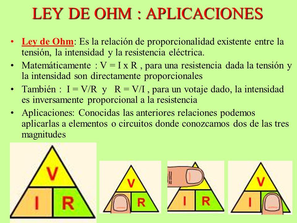 LEY DE OHM : APLICACIONES Ley de Ohm: Es la relación de proporcionalidad existente entre la tensión, la intensidad y la resistencia eléctrica. Matemát