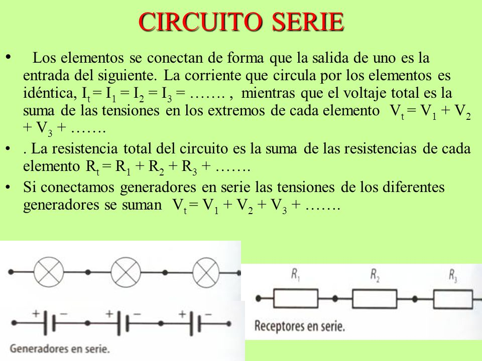 CIRCUITO SERIE Los elementos se conectan de forma que la salida de uno es la entrada del siguiente. La corriente que circula por los elementos es idén