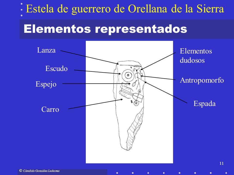 11 © Cándido González Ledesma Elementos representados Estela de guerrero de Orellana de la Sierra Lanza Escudo Antropomorfo Espada Espejo Carro Elemen