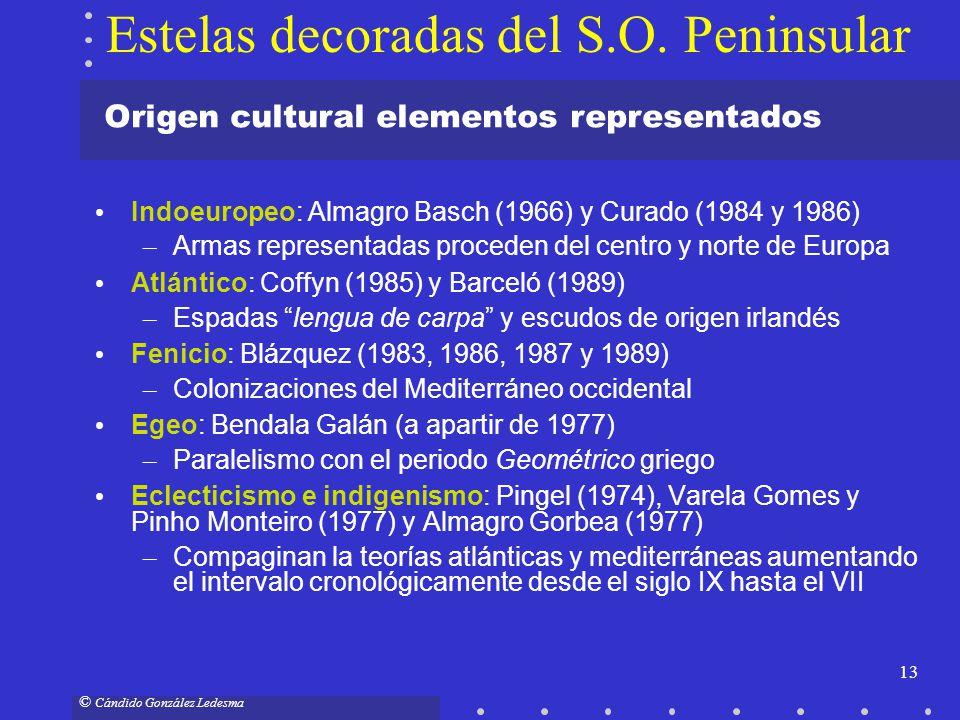 13 © Cándido González Ledesma Origen cultural elementos representados Estelas decoradas del S.O. Peninsular Indoeuropeo: Almagro Basch (1966) y Curado