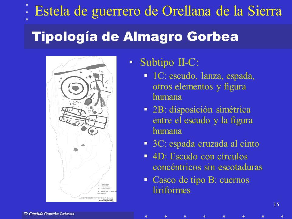 15 © Cándido González Ledesma Tipología de Almagro Gorbea Subtipo II-C: 1C: escudo, lanza, espada, otros elementos y figura humana 2B: disposición sim